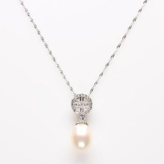 【寶石方塊】白璧無暇天然珍珠項鍊