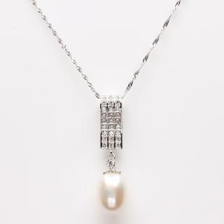 【寶石方塊】珠箔銀屏天然珍珠項鍊