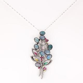 【寶石方塊】高貴紫荊花天然蛋白石項鍊胸針兩用款-925純銀飾