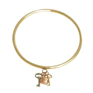 【CHLOE】鎖X鑰匙吊飾黃銅手環(金2B0652-CE9-999)
