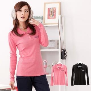 【衣心衣意中大尺碼】造涼感系列 --個性圖印 polo衫(黑-紅FS3A1075)