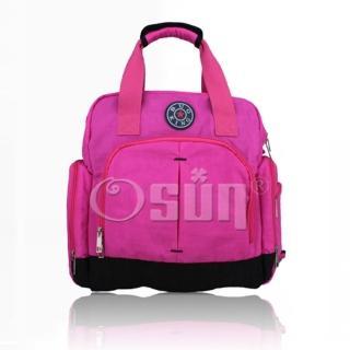 【Osun】新款無毒超容量後背側背斜背手提四用媽咪包、媽媽包(素色款-桃紅CE200)