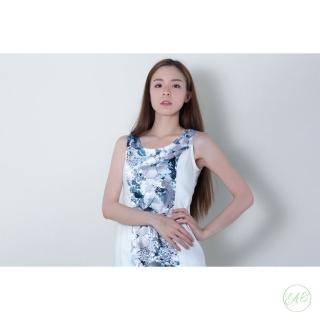 【EAS】氣質水藍扶桑花洋裝(洋裝)