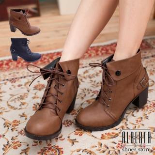 【Alberta】騎士短靴踝靴 英倫學院風6.5cm高跟粗跟 反摺扣環設計繫帶(可可)