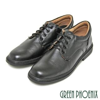 【Pretty】八孔綁帶式圓頭標準學生鞋皮鞋-男款(黑色)