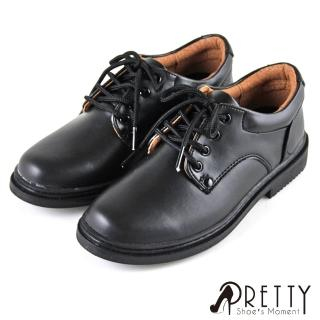 【Pretty】八孔綁帶式圓頭標準學生鞋皮鞋-女款(黑色)