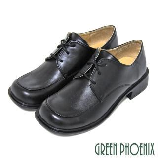 【GREEN PHOENIX 女鞋】六孔綁帶式方頭牛皮全真皮低跟學生鞋-女款(黑色)