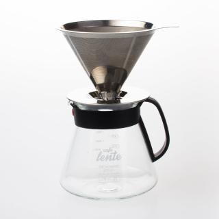 【UdiLife】慢拾光/手沖式不鏽鋼咖啡組(附玻璃壺含蓋+咖啡濾杯)