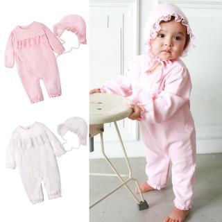 【baby童衣】嬰兒連身衣 包屁衣 純棉長袖蕾絲睡袋 嬰兒帽  50785(共2色)