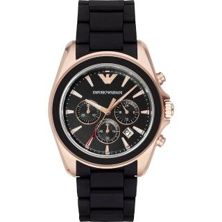 【ARMANI】Classic 雅爵計時錶-黑x玫瑰金框/44mm(AR6066)