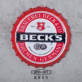 【OPUS LOFT純真年代】仿舊啤酒瓶蓋壁飾 立體牆飾鐵皮畫 居酒屋美式餐廳夜店牆面裝飾掛畫(BC05 貝克)
