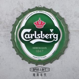 【OPUS LOFT純真年代】仿舊啤酒瓶蓋壁飾 立體牆飾鐵皮畫 居酒屋美式餐廳夜店牆面裝飾掛畫(BC06 嘉士伯)