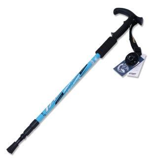 【PUSH! 戶外休閒登山用品】鋁合金鎢鋼杖尖三節調整式T型登山杖老人杖(一入 P70)