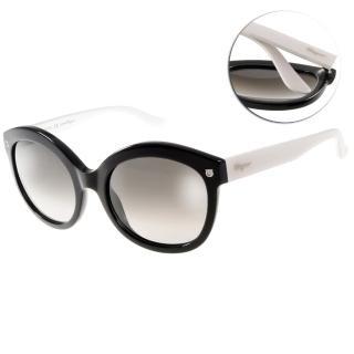 【Salvatore Ferragamo太陽眼鏡】奢華時尚經典(黑-白#SF677S 961)