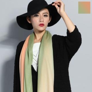 【Seoul Show】漸變撞色100%純羊毛80支圍巾披肩8色(橘綠漸變)   Seoul Show首爾秀