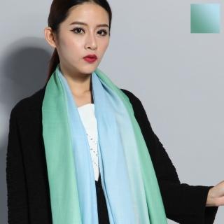 【Seoul Show】漸變撞色100%純羊毛80支圍巾披肩8色(淺綠天藍漸變)  Seoul Show首爾秀