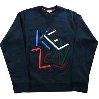 【KENZO】LOGO不規則圖案 男生厚款毛衣(藏青色)