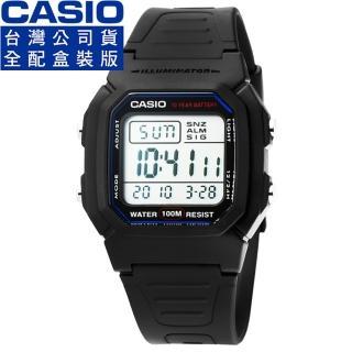【CASIO】卡西歐鬧鈴多時區電子錶-黑(W-800H-1A)