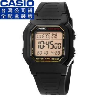 【CASIO】卡西歐鬧鈴多時區電子錶-金黑(W-800HG-9A)