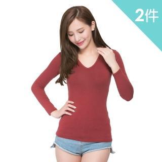 【富立金】極速女V領發熱衣-2件組+贈D&G女襪(L280上衣-內著)