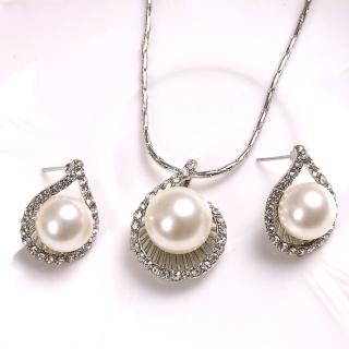 【Bling Q】潤白珍珠藏愛耳環項鍊組