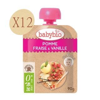【法國BABYBIO】有機蘋果草莓果纖果泥(90gx12)