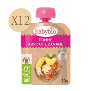 【BABYBIO】法國倍優有機香蕉杏桃纖果泥(90gx12)