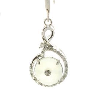 【Hanami】雅致天然冰種白翡耳環