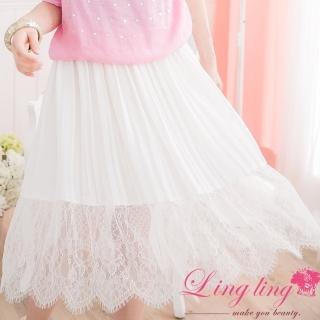 【lingling】氣質睫毛蕾絲花漾雪紡百褶裙PA2254(氣質白)