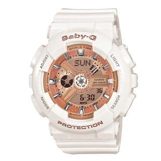【CASIO 卡西歐】Baby-G 全白玫瑰金配色 運動時尚電子腕錶(46mm-BA-110-7A1)