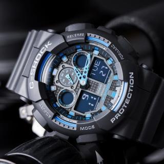 【CASIO 卡西歐】G-SHOCK 重機械感街頭潮流閒錶-藍x黑/55mm(GA-100-1A2DR)