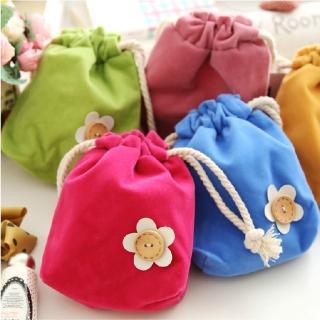 【香草花園】韓版糖果色繽紛束口袋/收納袋/零錢袋/禮物袋(隨機出貨)