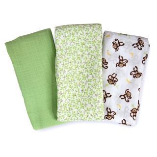 【美國 Summer Infant】輕量細棉紗布寶寶毯(俏皮小猴3入組)