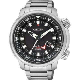 【CITIZEN】PROMASTER 光動能雙時區腕錶-黑/46mm(BJ7081-51E)