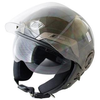 【THH】勇氣可掀式雙鏡片半罩安全帽-黑白+新一代免洗安全帽內襯套6入