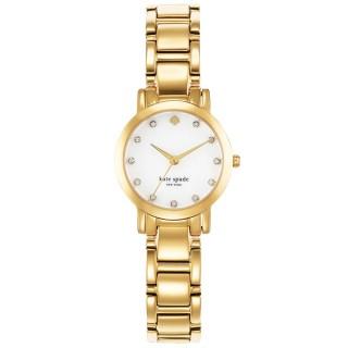 【Kate Spade】艾斯皇后晶鑽時尚腕錶-白X金(1YRU0145)