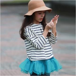【baby童衣】大小童長袖上衣 圓領條紋純棉長T恤 50774(共1色)