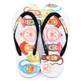 【童鞋城堡】醜比頭 成人款滿版夾腳拖(KO0203-白)
