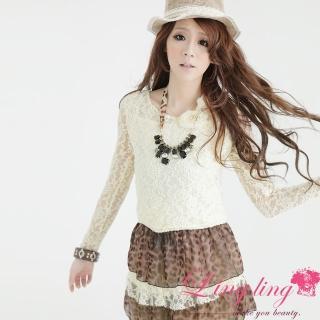 【lingling】嬌媚動人刺繡蕾絲花網接豹紋洋裝PA606(純情米杏)