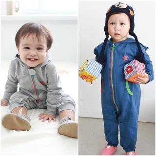 【baby童衣】嬰兒連身衣 長袖兩色拉鍊星星爬服 50484(共2色)