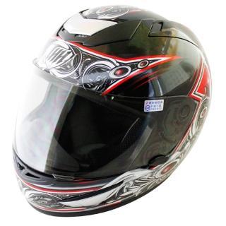 【THH】翅膀可掀式全罩安全帽TS41A-黑紅+新一代免洗安全帽內襯套6入