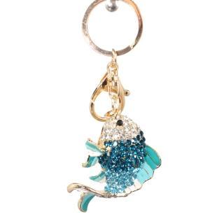 【菲依麗精品】時尚精品施華落款 水漾藍 如魚得水鑰匙圈(情人節限定)