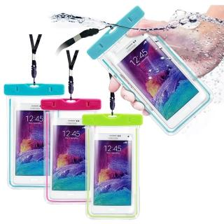 【Universal】適用6吋以下智慧手機運動螢光防水袋(內附臂帶/頸繩)