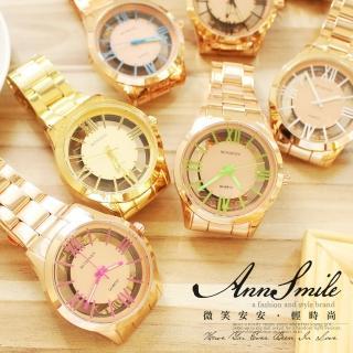 【微笑安安】玫瑰金鏤空面羅馬數字中性大錶面鐵帶手錶‧8色