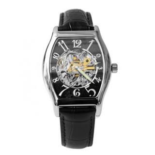 【Valentino范倫鐵諾】自動上鍊機械腕錶 經典酒桶真皮皮革手錶 背板鏤空