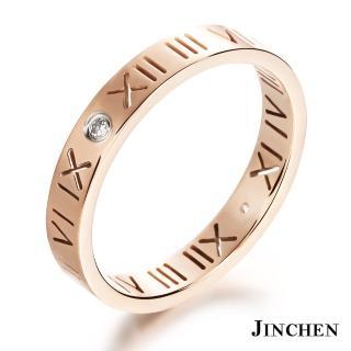 【JINCHEN】316L鈦鋼戒指單個價TBC-462玫金(羅馬密碼戒指/韓版百搭/甜美女孩)