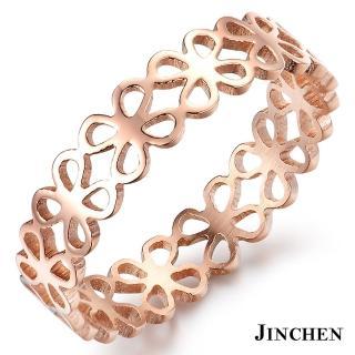 【JINCHEN】316L鈦鋼戒指單個價TBC-439玫金(幸運草戒指/韓版百搭/甜美女孩)