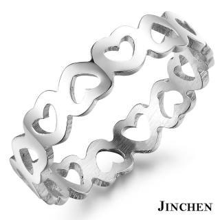 【JINCHEN】316L鈦鋼戒指單個價TBC-436銀色(心連心戒指/韓版百搭/甜美女孩)