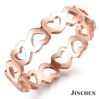 【JINCHEN】316L鈦鋼戒指單個價TBC-436玫金(心連心戒指/韓版百搭/甜美女孩)