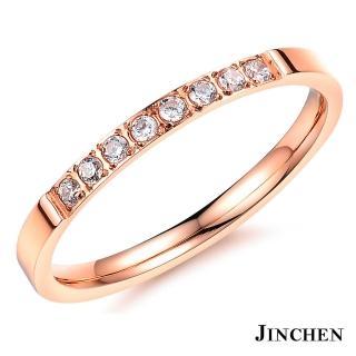 【JINCHEN】316L鈦鋼戒指單個價TBC-412玫金(精緻水鑽戒指/韓版百搭/甜美女孩)